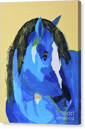 Canvas Print featuring the painting Blue Horse 2 by Donald J Ryker III