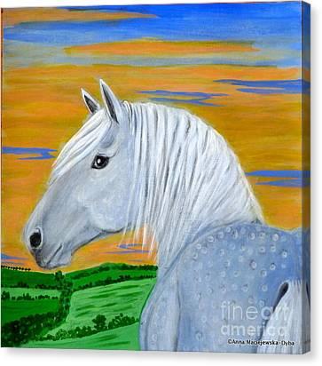 Blue Horse Canvas Print by Anna Folkartanna Maciejewska-Dyba