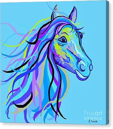 Surreal Canvas Print - Blue Horse by Eloise Schneider