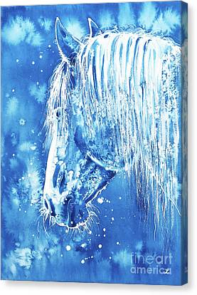 Canvas Print featuring the painting Blue Horse by Zaira Dzhaubaeva