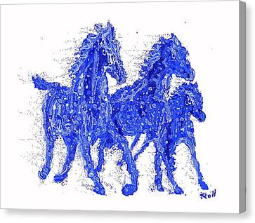 Blue Horses Canvas Print by Hank Roll