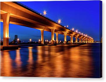 Blue Hour At Roosevelt Bridge In Stuart Florida  Canvas Print by Justin Kelefas