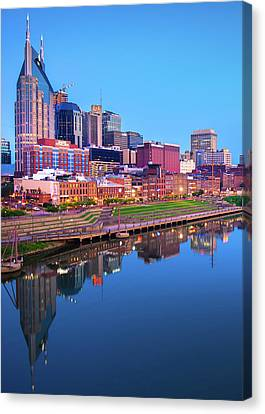 Downtown Nashville Canvas Print - Blue Hour Over Nashville  by Gregory Ballos