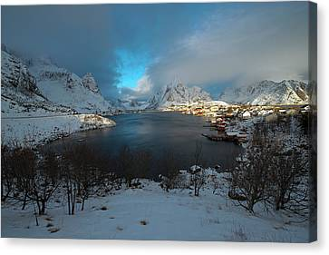 Canvas Print featuring the photograph Blue Hour Over Reine by Dubi Roman