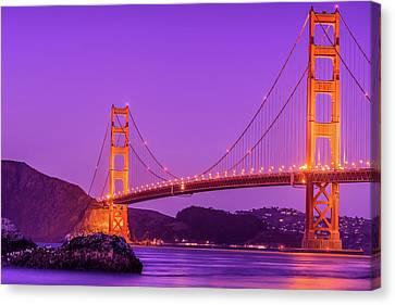 Golden Gate Bridge In The Blue Hour Canvas Print