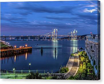Blue Hour Over The Hudson Canvas Print