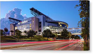 Blue Hour Photograph Of Nrg Stadium - Home Of The Houston Texans - Houston Texas Canvas Print