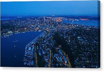 Blue Hour Seattle Aerial Cityscape Canvas Print