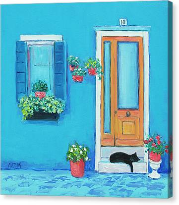 Blue House In Burano Venice Canvas Print by Jan Matson