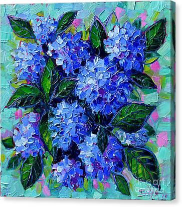 Blue Hydrangeas - Abstract Floral Composition Canvas Print by Mona Edulesco