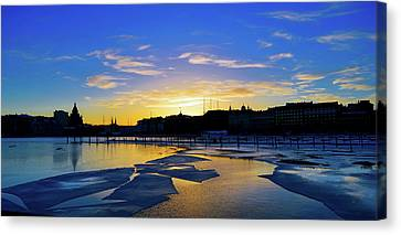 Blue Ice Sunset Canvas Print by Indineo