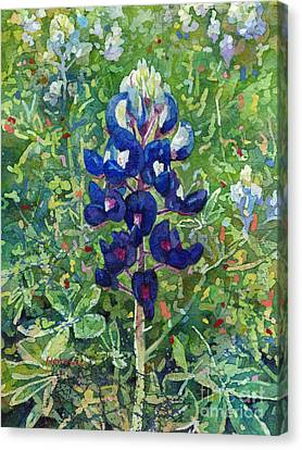 Canvas Print featuring the painting Blue In Bloom 2 by Hailey E Herrera