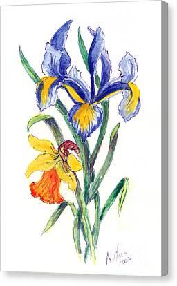 Blue Iris And Daffodil Canvas Print