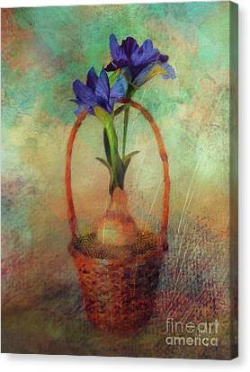 Canvas Print featuring the digital art Blue Iris In A Basket by Lois Bryan