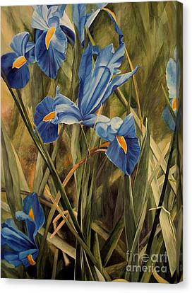 Canvas Print featuring the painting Blue Iris by Laurie Rohner