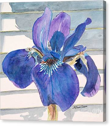 Canvas Print featuring the painting Blue Iris by LeAnne Sowa