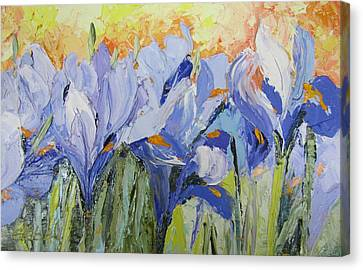 Blue Irises Palette Knife Painting Canvas Print