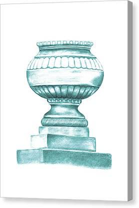 Canvas Print featuring the digital art Blue Jardiniere  by Elizabeth Lock