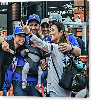 Blue Jay Fans At Camden Yards Canvas Print by Brian Wallace