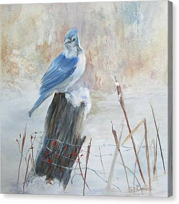 Canvas Print featuring the painting Blue Jay In Winter by Roseann Gilmore