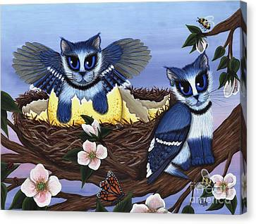 Canvas Print featuring the painting Blue Jay Kittens by Carrie Hawks