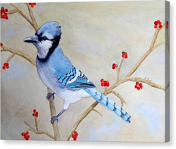 Canvas Print featuring the painting Blue Jay by Laurel Best