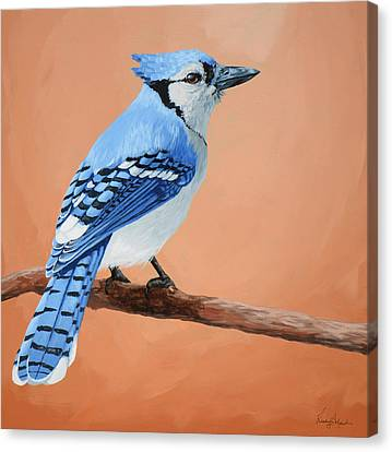 Blue Jay Canvas Print by Lesley Alexander