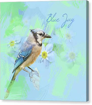 Canvas Print featuring the photograph Blue Jay Watercolor Photo by Heidi Hermes