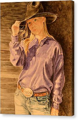 Blue Jean Cowgirl Canvas Print
