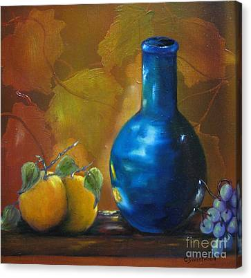Blue Jug On The Shelf Canvas Print by Carol Sweetwood