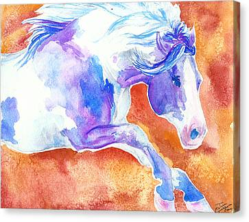 Blue Jumping Paint Canvas Print by Jenn Cunningham