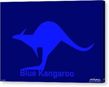 Blue Kangaroo Canvas Print by Asbjorn Lonvig