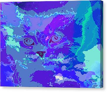 Canvas Print featuring the digital art Blue Kitty by Lola Connelly