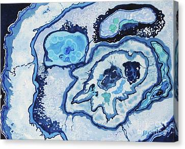 Canvas Print featuring the painting Blue Lace Agate I by Ellen Levinson