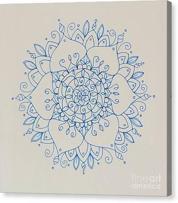 Blue Lace Mandala Canvas Print