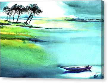 Canvas Print featuring the painting Blue Lagoon by Anil Nene