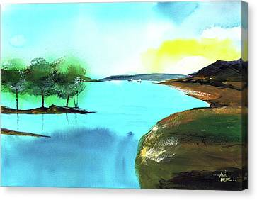 Canvas Print featuring the painting Blue Lake by Anil Nene