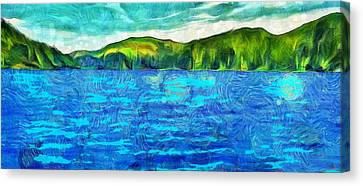 Blue Lake Green Land Canvas Print by Dan Sproul