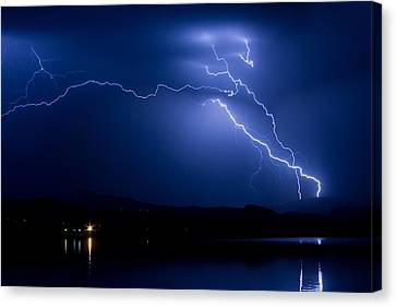 Blue Lightning Sky Over Water Canvas Print