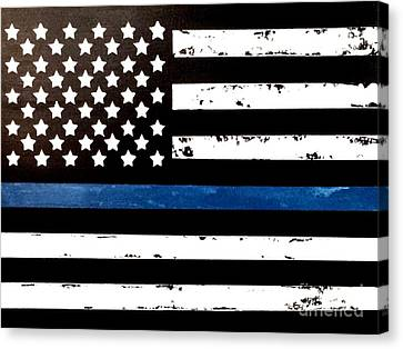 Canvas Print featuring the painting Blue Line Flag by Denise Tomasura