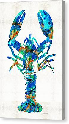 Blue Lobster Art By Sharon Cummings Canvas Print by Sharon Cummings