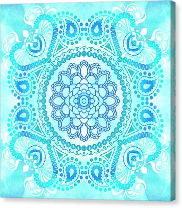 Canvas Print featuring the painting Blue Lotus Mandala by Tammy Wetzel