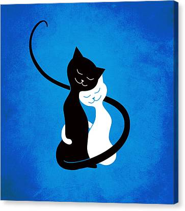 Blue Love Cats Canvas Print