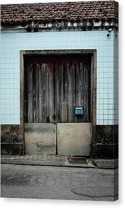 Canvas Print featuring the photograph Blue Mailbox by Marco Oliveira
