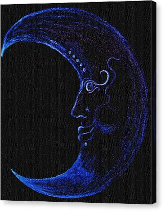 Blue Man In The Moon Canvas Print by Heather Grieb