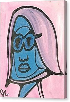 Blue Man With Glasses Canvas Print by Jimmy King