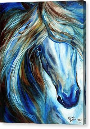 Blue Mane Event Equine Abstract Canvas Print by Marcia Baldwin