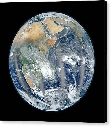 Blue Marble 2012 - Eastern Hemisphere Of Earth Canvas Print by Nikki Marie Smith