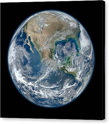 Weathered Canvas Print - Blue Marble 2012 Planet Earth by Nikki Marie Smith