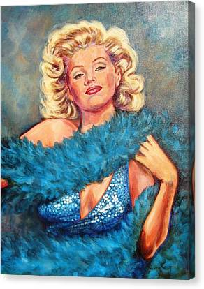 Blue Marilyn Canvas Print by Beverly Sneath